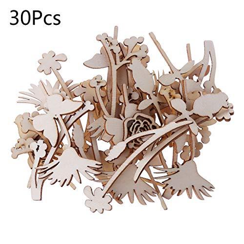 FURU Blank Holz Herz,30 Stücke Laser Cut Holz Verschönerung Holz Rose Form Handwerk Hochzeit Decor