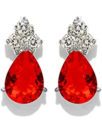 Peora Crystal Red Pear Drop Earrings For Women Girls