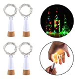LED Cork Bottle Lights, niceEshop(TM) 4pcs Waterproof Rechargeable USB LED String Lights Fairy Lights with 1.5m 15 LED, Great for DIY, Party, Christmas Decoration, Halloween, Wedding, Warm White