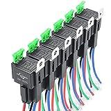 MICTUNING 12V Relais Set mit Sicherung - 30A ATO/ATC Sicherung, 5-Pin KFZ Relaix mit 12 AWG Hochleistungsdrähten - 6 Pack