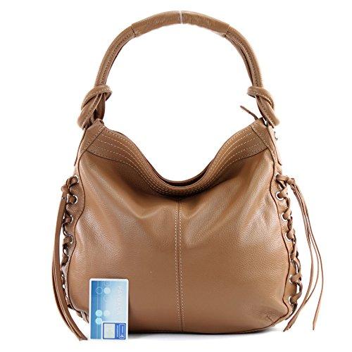 ital. Handtasche Schultertasche Shopper Damentasche Echt Leder Westernstyle F94821 Hellbraun