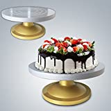 #2: Kurtzy Cake Turn Table With Fiber Glass For Decorating Frosting 360 Degree Rotating Revolving Icing Pedestal Display Stand