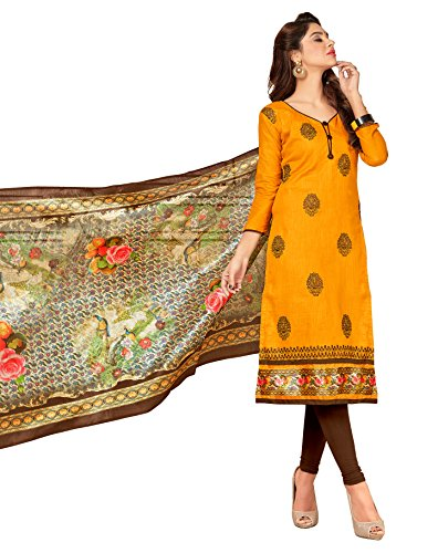 Priyavadhu Women's Slub Cotton straight Unstitched Salwar kameez Dress material (BLBSTR1003_Mustard_Free Size)