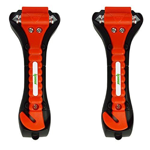 Preisvergleich Produktbild Ipow 2-Stück auto Hammer, Fenster Hammer mit integriertem Gurtschneider, Gurtmesser Sicherheit Hammer fürs Auto Kfz
