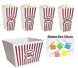 Greenbrier Retro-Kunststoff-Popcorn-Schüssel, Rot-Weiß, gestreift, Kino-Filmklappe, 5+ Mini-Sticks, mit Schlüsselanhänger