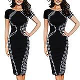 WWricotta Fashion Womens Sexy Bodycon Short Sleeve Party Business Style Pencil Mini Dress(Schwarz,L)