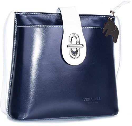 Borsetta piccola a tracolla in vera pelle italiana di Big Handbag Shop Navy - White Trim (NL639) Barato Disfrutan 83R0S7OK