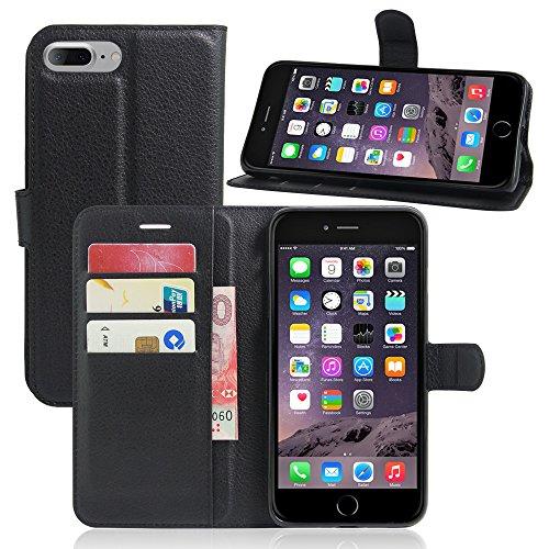 AVIDET iPhone 8 Hülle - Hochwertiges PU Ledertasche im Bookstyle with Kickstand Card Holder für iPhone 8 (Rot) Schwarz