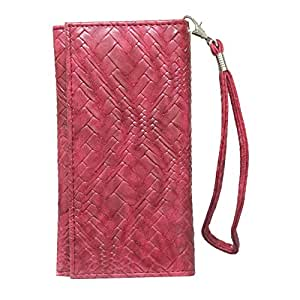 Jo Jo A5 Bali Leather Wallet Universal Pouch Cover Case For Lenovo A3690 Red