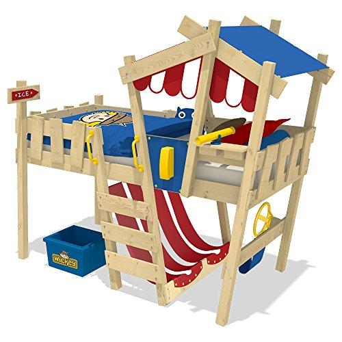 WICKEY Kinderbett CrAzY Hutty Hochbett mit Dach Abenteuerbett mit Lattenboden, rot-blau, 90x200 cm