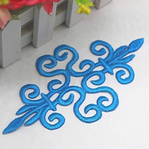 AiCheaX Lace Crafts - 10 Teile/los Gold Gestickte Patches Cosplay Kostüm Applizierte Spitze Eisen Auf Borte Gold Silber Craft 168 cm 10 Teile/los - (Farbe: Turq Blue) -