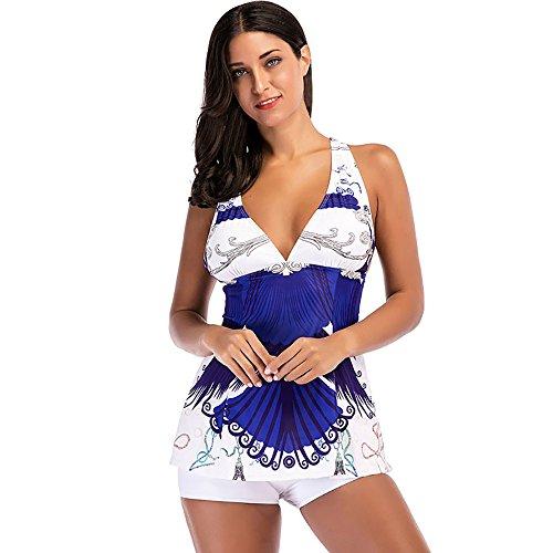 ESAILQ Frauen Bikini Sets BadeanzüGe Zweiteilige Badeanzüge Strandanzug(Large,Weiß)