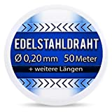 Edelstahldraht V2A - Ø 0,20 mm 50 Meter (0,12 EUR/m) Edelstahl Draht Heizdraht Schneidedraht Wickeldraht S304 AWG32 0,2