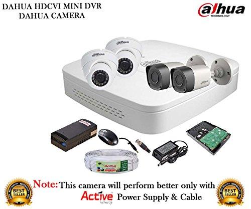 Dahua Hdcvi Dh-hcvr4104c-s2 4ch Dvr + Dahua Hdcvi 1000rp Bullet Camera 2pcs And Dome Camera 2pcs + 1tb Hdd + Active Cable + Active Power Supply Full Combo