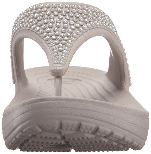 Crocs Sloanedmnteflp, Sandales avec plateau et talon compensé femme Gris (Platinum)