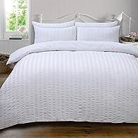 Highams Seersucker Duvet Cover with Pillow Case Bedding Set, Luxury White - Double