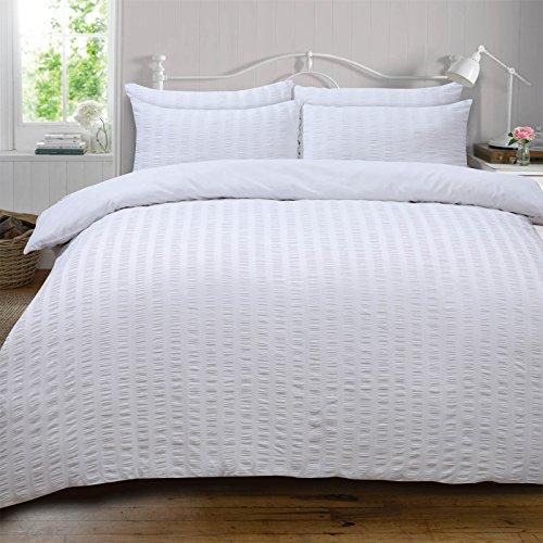 Highams Seersucker Ensemble Housse de Couette Polycoton Polyester 50% Coton, Blanc, Super King Size