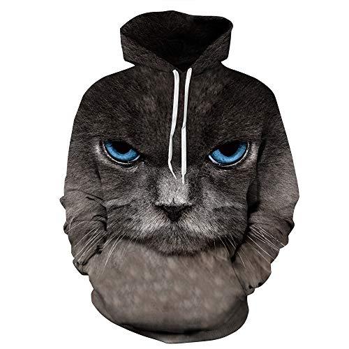 jiuyaomai Sweatshirt Wilde Liebhaber der Katze mit großen Augen kleiden losen Sportpullover M des Overalles an (Kind Der Wilden Katze Kostüm)