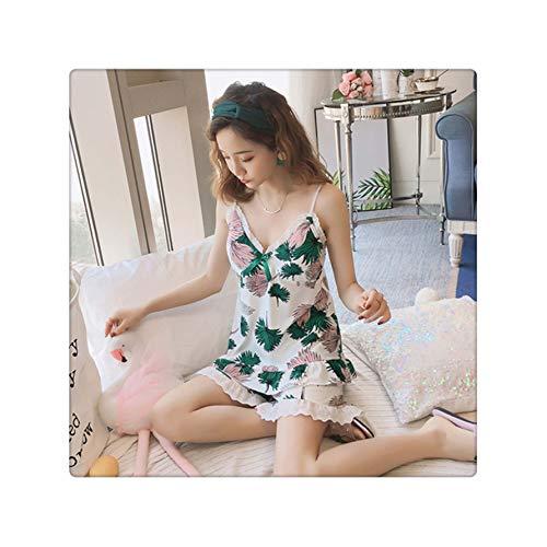 2019 New Women Pajamas Set Sexy Home Lace Sleepwear Shortless Sleeve Pyjamas with Chest Pad Girl Short Pajamas Pant X Q 5938 M (Make-up Ideen Halloween 2019)