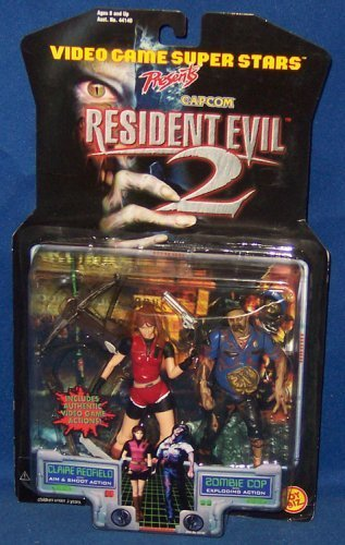 Claire Redfield with Aim & Shoot Action and Zombie Cop with Exploding Action - Video Game Super Stars Presents Capcom Resident Evil 2 Action Figures by Resident Evil
