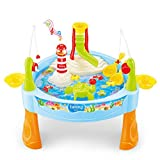 Spieltisch Wassertisch Wasserpark mit Musikalisch Fisch Angeln Spiel für Kinder ab 3 Jahre Alt drinnen und draußen , ca. 32 x 27cm(WxH)