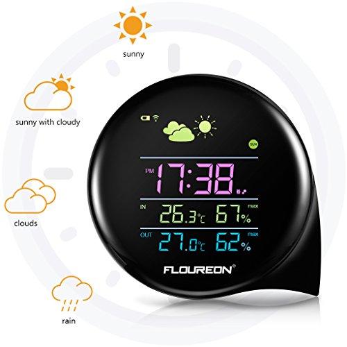 FLOUREON wetterstation Funk mit außensensor Funkwetterstation Thermometer Hygrometer Innen Außen