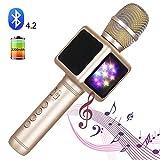 SHENGY Microfono Senza Fili, luci a LED, Karaoke Mikrofon Condenser, Altoparlante Bluetooth, Music Sing Player, per Smart Phone, Family Party,Gold