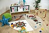 Savona Kids - Tapis pour enfant ronde - monde de pirate drôle beige - 3 tailles disponibles
