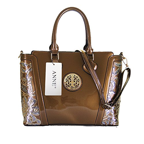 ANNE Borsa Da Donna In Pelle Di Brevetto Bronze