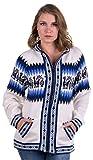 Gamboa - Cardigan mit Kapuze aus Alpaka mit Reißverschluss - Weiß mit Anden-Design in Blau