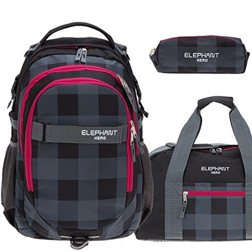 Plaid Laptop-rucksäcke (3 Teile Set ELEPHANT Schulrucksack HERO SIGNATURE Rucksack + Sporttasche + Mäppchen (Plaid Red (12609 Schwarz ROT))