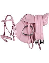 """Equipride Pony Power Selle 33cm Comlete de """"simili cuir"""" en rose"""