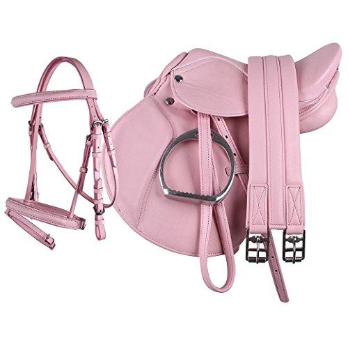 Equipride Pony-Power-Sattel aus Kunstleder, 33cm, komplett-Set in Pink, rose, 33 cm