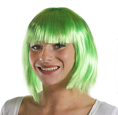 BOB WIG FANCY DRESS ACCESSORY LADIES 20'S FLAPPER PARTY HAIR SEXY COSPLAY SHORT BABE WIG IN MANY COLOURS (GREEN)