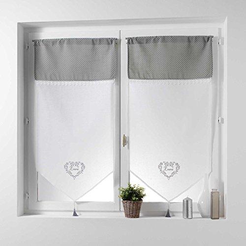 Couleur Montagne Home Love Paire Pompon Passe Tringle Motif Voile Brode/Top Imprime, Polyester, Gris, 160x60 cm
