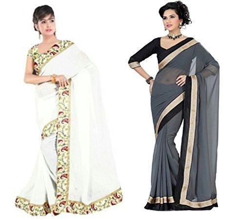 Aashi Saree Exclusive Combo Of Plain Chiffon Golden Black Border Sarees (Grey & White)