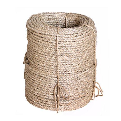 Karry Natur Sisal Leine Seil Sisalseil Auch für kratzbaumseil Kratzbaum Katzenbaum Naturprodukt Hanf Jute Tau Seil Tauziehen Absperr Seil (50 Meter Ø 6 mm) Beige …