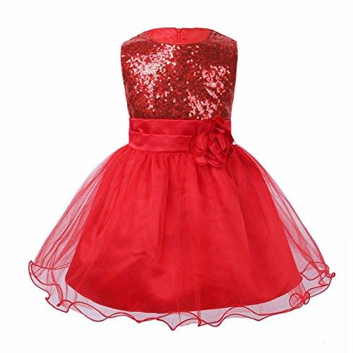 2aea7a2a08773 YiZYiF Bébés Fille Robe à Paillettes Robe de Soirée sans Manches Fleur Robe  d anniversaire