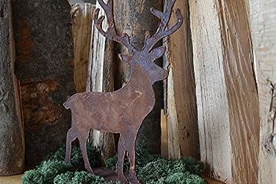 Deko Hirsch auf Metallplatte Waldtier Tier Rost Edelrost Metall Garten Terrasse 28cm von Saremo auf Du und dein Garten