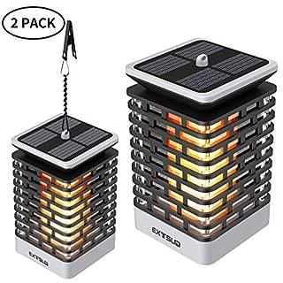 EXTSUD 2er Solarleuchte Außen Solar Garten Flamelampe 99 LED Garten Flackernde Flammenlampe IP65 Wasserdicht Automatisch Ein und Dekoration Lampen Hängeleuchte für den Gartendeko,Hof,Flur,Veranda
