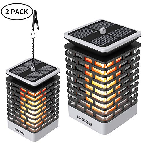 EXTSUD Lot de 2 Lampe Solaire Extérieure Lanterne Solaire de Flamme Vacillante Automatique 99 LED Étanche IP65 Lampe d'Ambiance Bougies LED pour Décoration de Jardin, Cour, Couloir, Véranda