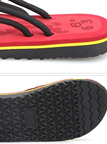 CHENGYANG Herren Strand Hausschuhe Sommer Flip Flops Schuhe Sandalen Männer Slipper Zehentrenner Rot#2