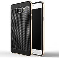 """Galaxy A5 2016 Coque , ivencase Prime Hybride Anti-scratch Carcasse Bumper Housse Double Couche Etui en fibre de carbone pour Samsung Galaxy A5 2016 5.2"""" Noir+Or"""
