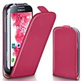 moex Samsung Galaxy S4 Mini | Hülle Pink 360° Klapp-Hülle Etui thin Handytasche Dünn Handyhülle für Samsung Galaxy S4 Mini Case Flip Cover Schutzhülle Kunst-Leder Tasche
