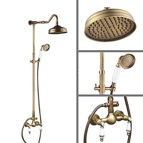 Ohcde Dheark 8 inch Round Vintage Retro Antique Brass Wall Mounted Rain Shower Faucet Set Mixer Tap Dual Ceramics Handle