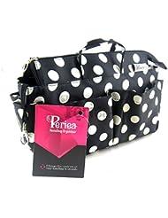 Periea - Organiseur de sac à main, 13 Compartiments - Natasha (Noir à pois blancs)