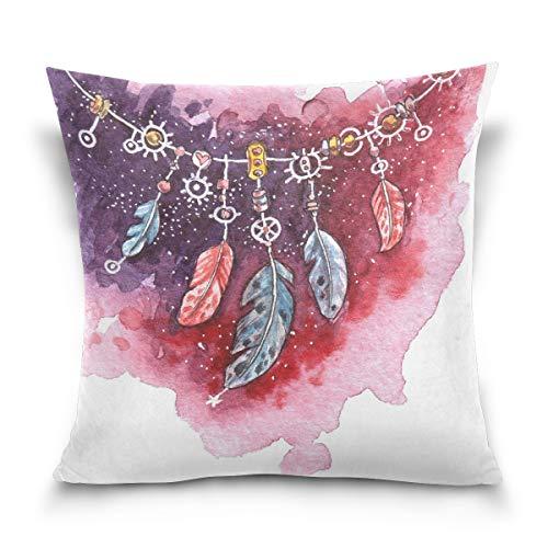 Use7 Funda de Almohada Decorativa Cuadrada Funda de Almohada, Acuarela Pintura al óleo atrapasueños Arte sofá Cama Funda de Almohada Doble Lados, Tela, 50 x 50cm/20 x 20 Inches