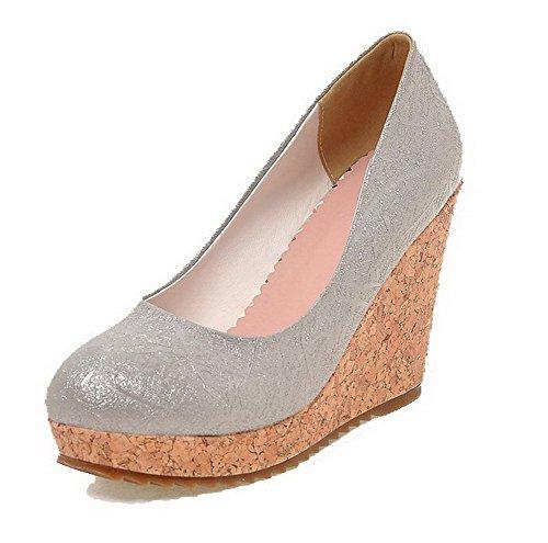 AgooLar Damen Rund Zehe Hoher Absatz Blend-Materialien Rein Ziehen Auf Pumps Schuhe Grau