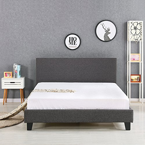 iKayaa - Estructura de cama de hierro y madera,superficie del lino,color gris(capacidad 200kg,205x151cm?para colchón del tamaño doble)