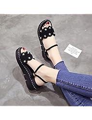 XY&GK La mujer sandalias en verano con la pendiente con sandalias de suela gruesa dos Muffin llevar zapatillas hembra negro 36